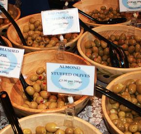 Olives at Borough market, London