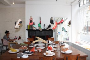 Shoe display at independent fashion shop Tracey Neuls