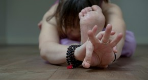 Person stretching at Blue Cow Yoga